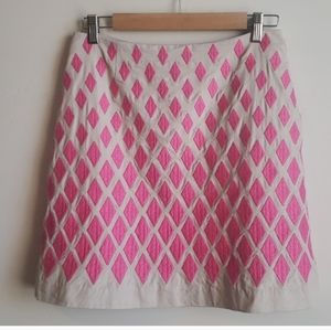 Boden mini skirt w  pink embroidered diamonds